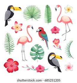Watercolor illustrations of a parrot, toucans, flamingos, tropical flowers and leaves