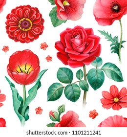 Watercolor illustrations of red flowers. Seamless pattern
