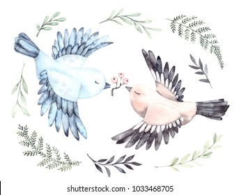 Watercolor illustrations. Two cute birds with green branches and leaves. Spring mood. Floral Design elements. Perfect for invitations, postcards, prints and posters