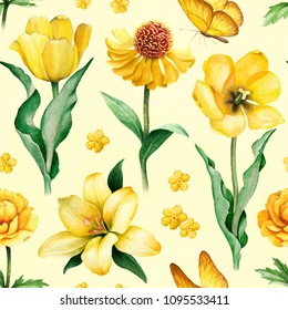 Watercolor illustrations of yellow flowers. Seamless pattern