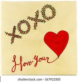 Watercolor illustrator of hugs and kisses and I love you message with a red heart.
