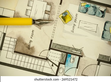 Watercolor and ink freehand sketch drawing of apartment flat floor plan with a fine nib yellow penholder, symbolizing artistic custom unique approach to real estate business branch and design process