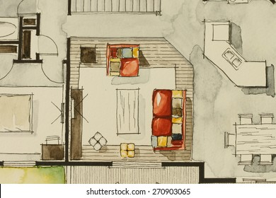 Watercolor ink freehand sketch drawing of partial house floor plan as aquarell painting showing living room with red sofa, symbolizing artistic custom unique approach in buying real estate property
