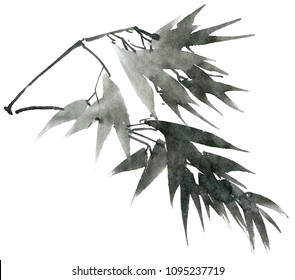Watercolor and ink illustration of bamboo leaves on the branch. Oriental traditional painting in style sumi-e, u-sin.