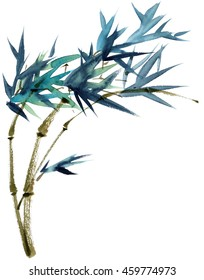 Watercolor and ink illustration of bamboo in style sumi-e, u-sin. Oriental traditional painting.