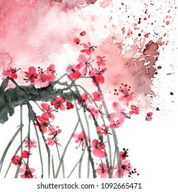 Watercolor and ink illustration of blossom sakura tree branch with color watersplashes. Oriental traditional painting in style sumi-e, u-sin. Artistic illustration.