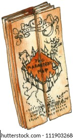Watercolor and ink illustration of Marauders map. Hand drawn object