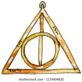 Watercolor and ink illustration of Xenophilius's Deathly Hallows necklace. Hand drawn object