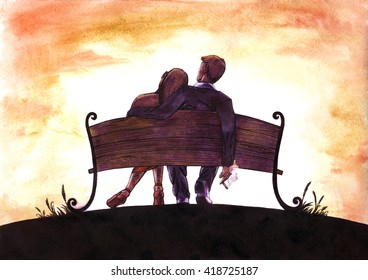 Watercolor and ink  painting of love couple on bench watching orange and pink sunset  sky and clouds, woman leaned on the smoking man
