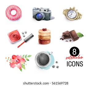 Watercolor items ( coffee, chocolate, watch, flower, donut, camera, nail polish, cake)
