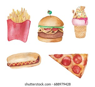 Watercolor junk food, pizza, hamburger, hot dog, fries, ice cream with white background
