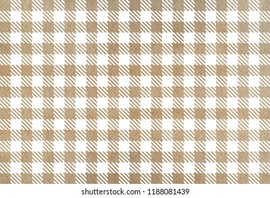 Watercolor khaki checked pattern. Geometrical traditional ornament for fashion textile, cloth, backgrounds.