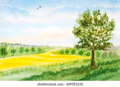 watercolor landscape background with summer field, trees, sky with clouds