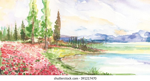 Watercolor landscape with cypress trees, far mountains, sunset sky, poppy field and pine forest.