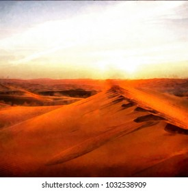 Watercolor landscape desert at sunset. Digital painting