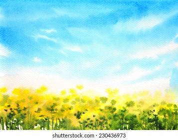 Watercolor landscape flower and bluesky original handpainted