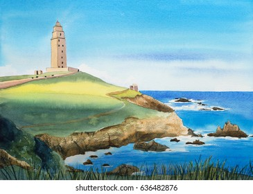Watercolor Landscape Illustration. Spain, The Tower of Hercules.