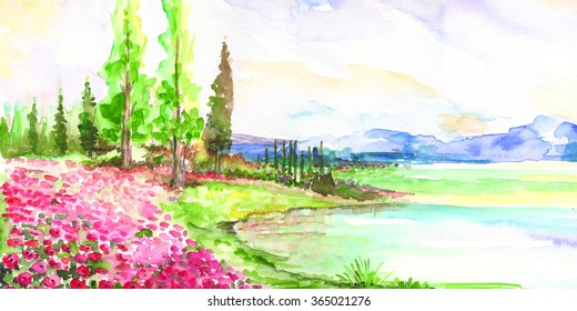 Watercolor landscape. Lake, forest and trees.