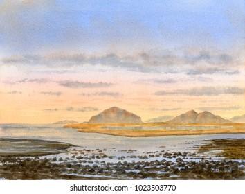 Watercolor Landscape Morning Tide Rocks Islands Bay sunrise
