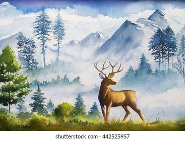 Watercolor landscape. Mountains, forest and deer.