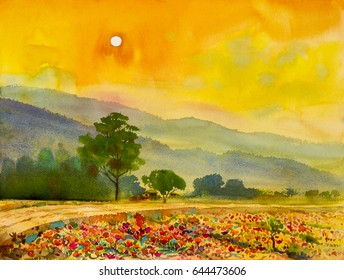 Watercolor landscape original painting colorful of home with sun in evening and mountain in beauty nature spring season. Painted impressionist, illustration image