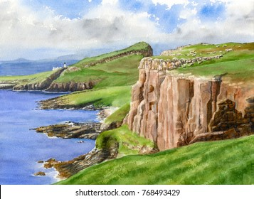 Watercolor landscape painting of cliffs above the sea in Scotland