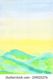 Watercolor landscape painting of fresh green hills in early Summer, with sunny lemon yellow and blue sky. Hand drawn using transparent watercolor paint on paper.