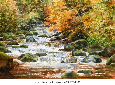 Watercolor landscape painting of a rushing river in the fall with rocks