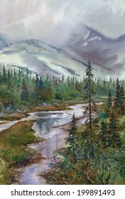 Watercolor landscape: Rain and low clouds in the Khibiny Mountains