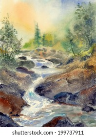Watercolor landscape sketch: Misty dawn in the Khibiny Mountains