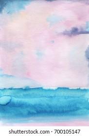 Watercolor landscape sky clouds
