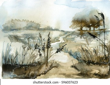 Watercolor landscape with trees.