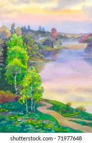 Watercolor landscape. Young birch trees around the winding paths the steep slope near the lake evening
