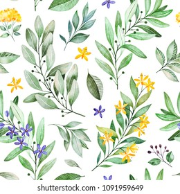 Watercolor leaves branch seamless pattern on white background. Texture with greens,branch,leaves,flowers,foliage.Perfect for wedding,cover design,wallpapers,patterns,packaging,print etc