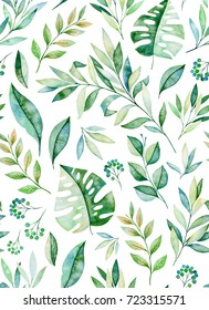 Watercolor leaves branch seamless pattern on white background. Texture with greens,branch,leaves,tropical leaves,foliage.Perfect for wedding,cover design,wallpapers,patterns,packaging etc