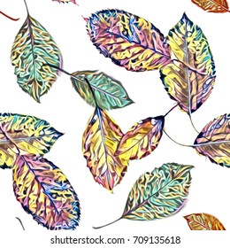 Watercolor leaves seamless pattern. Artistic background.