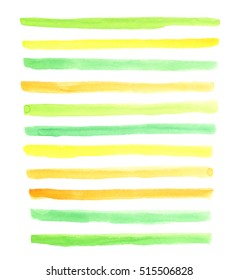 Watercolor light blue and yellow stripes. Mixed color green. Hand drawn element for your design.