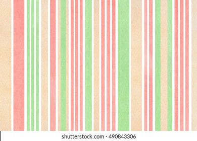 Watercolor light pink, beige and mint green striped background. Watercolor geometric pattern.