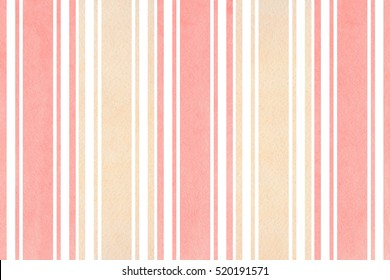 Watercolor light pink and beige striped background. Watercolor geometric pattern.
