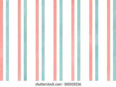 Watercolor light pink and blue striped background.