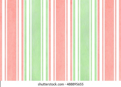 Watercolor light pink and mint green striped background. Watercolor geometric pattern.