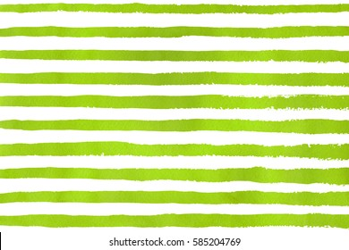 Watercolor lime green brush strokes on white background. Hand drawn grunge stripes pattern for fabric print, textile design, fashion.