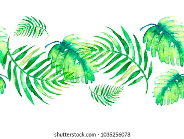 Watercolor linear border, frame, element. Seamless background. From a vegetative pattern. Green leaves of a palm tree, tropical leaves, a fern. On a white background. For your design and profile.