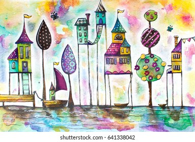 Watercolor magical houses (city, street). Hand drawn illustration.