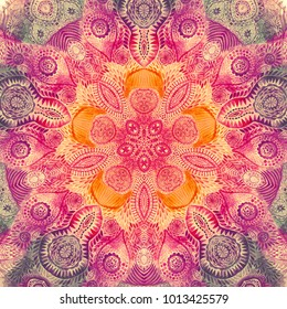 Watercolor mandala. Decor for your design, lace ornament. Round pattern, oriental style.