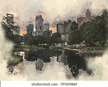 Watercolor mixed media illustration of downtown/uptown Charlotte, North Carolina at sunset as seen from Marshall Park