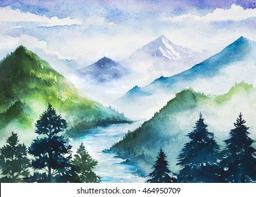 Watercolor mountains.