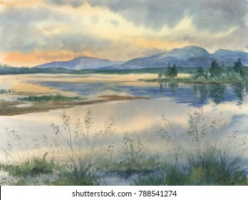 Watercolor: The mouth of the Tulyok river
