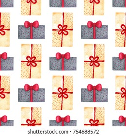 Watercolor New Year seamless pattern with gift boxes. Illustration for wrapping paper