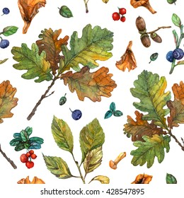 Watercolor oak, cherry leaves, acorns, berries and mushrooms pattern. Seamless botanical pattern on white background. Autumn growth and forest wealth for decor and design